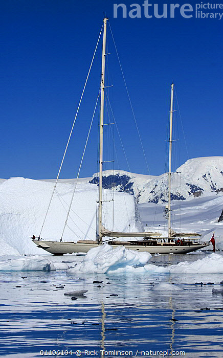 """SY """"Adele"""", 180 foot Hoek Design, motoring through the brash ice in Wilhelmina Bay, Antarctica, January 2007 Non editorial uses must be cleared individually.  ,  ANTARCTICA,BOATS,COASTS,CRUISING,Gerlache Strait,ICEBERGS,KETCHES,MOUNTAINS,POLAR,PROFILE,REFLECTIONS,SAILING BOATS,SNOW,SUPERYACHTS,VERTICAL,YACHTS, SAILING-BOATS , SAILING-BOATS , SAILING-BOATS , SAILING-BOATS , SAILING-BOATS , SAILING-BOATS  ,  Rick Tomlinson"""