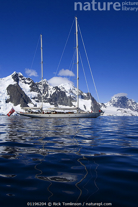 """SY """"Adele"""", 180 foot Hoek Design, motoring in the Lemaire Channel, Antarctica, January 2007 Non editorial uses must be cleared individually.  ,  ANTARCTICA,BOATS,COASTS,KETCHES,MOTORING,MOUNTAINS,POLAR,SAILING BOATS,SNOW,SUPERYACHTS,VERTICAL,YACHTS, SAILING-BOATS , SAILING-BOATS , SAILING-BOATS , SAILING-BOATS , SAILING-BOATS , SAILING-BOATS  ,  Rick Tomlinson"""