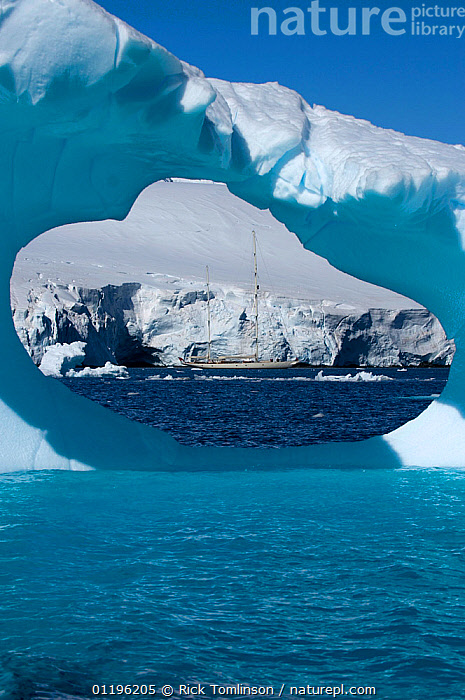 """SY """"Adele"""", 180 foot Hoek Design, seen in the distance through an ice window motoring in the Lemair Channel, Antarctica, January 2007 Non editorial uses must be cleared individually.  ,  ANTARCTICA,BOATS,COASTS,CRUISING,framed,hole,holes,ICE,ICEBERGS,KETCHES,POLAR,SAILING BOATS,SUPERYACHTS,VERTICAL,YACHTS, SAILING-BOATS , SAILING-BOATS , SAILING-BOATS , SAILING-BOATS , SAILING-BOATS , SAILING-BOATS , SAILING-BOATS  ,  Rick Tomlinson"""