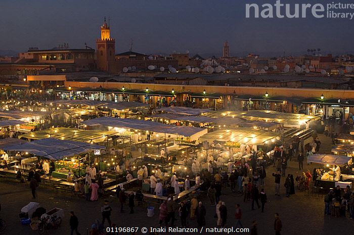 The Square, Jemaa el Fna,  with market stalls at night, Marrakech, Morocco, North Africa  ,  AFRICA,CITIES,LANDSCAPES,LIGHTS,MARKETS,NORTH AFRICA,PEOPLE,NORTH-AFRICA  ,  Inaki Relanzon