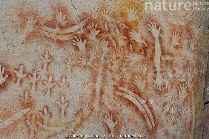 Aboriginal rock painting, Art Gallery Cave, Carnarvon National Park, Queensland, Australia. The painting is believed to me more than 2000 years old and shows hands, boomerangs, emu feet and rock wallaby bones., ABORIGINAL,ART,AUSTRALASIA,AUSTRALIA,CAVE PAINTING,CAVES,HANDS,NATIONAL PARK,PAINTINGS,RESERVE,ROCKS,Catalogue1, Jouan & Rius