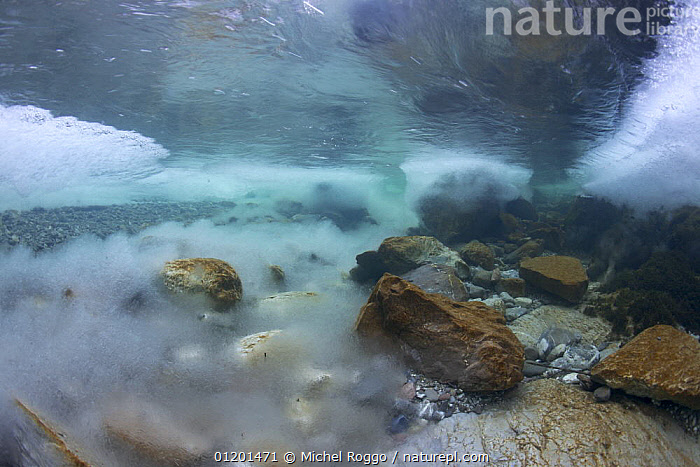 Underwater landscape in Hongrin River with ice on the river bed and surface in winter. Fribourg, Gruy�re, Switzerland, December, AQUATIC,EUROPE,FRESHWATER,GRUYERE,ICE,LANDSCAPES,REFLECTIONS,RIVERBED,RIVERS,ROCKS,SURFACE,TEMPERATE,UNDERWATER,WINTER, Michel Roggo