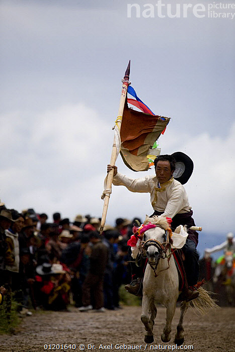 Horse festival at Holy hill near Dargye, Sichuan Province, China, Tibet. Part of the Biodiversity hotspot �Southeast China mountains�, ASIA,BIODIVERSITY,CELEBRATIONS,CHINA,CULTURE,DECORATED,FLAGS,HORSES,KHAM,LANDSCAPES,MOUNTAINS,PEOPLE,RELIGION,TIBET,TRADITIONAL,VERTICAL, Dr. Axel Gebauer