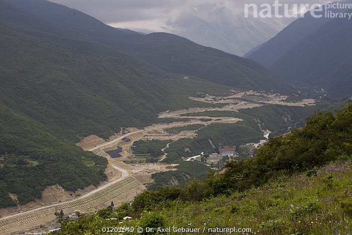 Road construction in Kangding, Sichuan, Tibet, China, ASIA,CHINA,DEFORESTATION,ENVIRONMENTAL,KHAM,LANDSCAPES,MOUNTAINS,ROADS,TIBET, Dr. Axel Gebauer