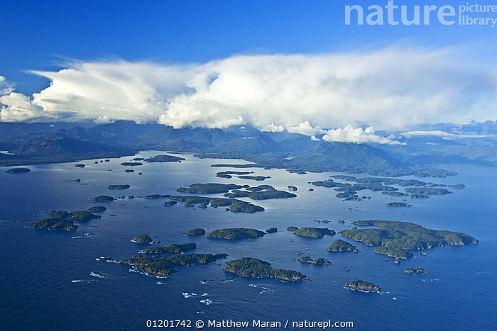 Aerial view of The Broken Group Islands, part of the Pacific Rim National Park, Barkely Sound, Vancouver Island, BC, Canada, AERIALS,CANADA,COASTS,ISLANDS,LANDSCAPES,PACIFIC,North America, Matthew Maran