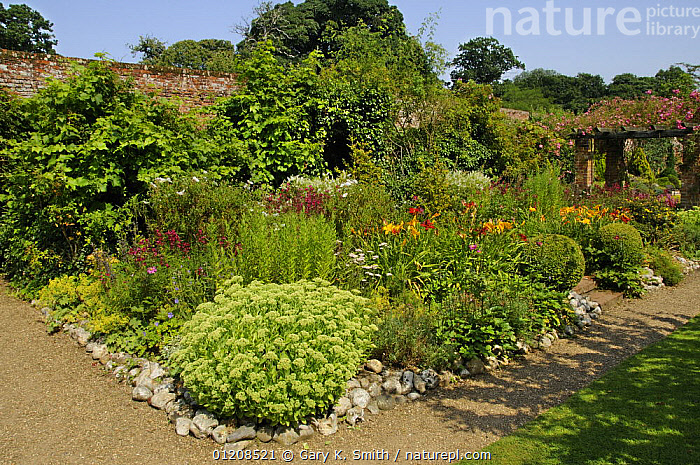 Nature Picture Library Large Garden Border Planted With Perennials