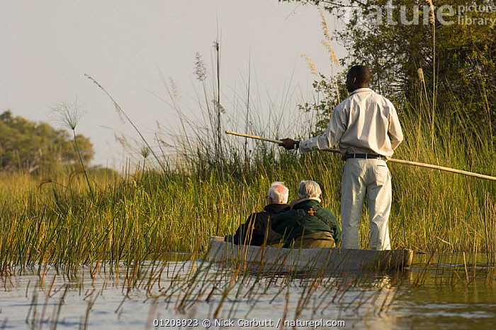 Tourists in a traditional Mocoro boat, Xigera Camp, Okavango Delta, Botswana. July 2008.  ,  BOATS,ECO TOURISM,PEOPLE,RESERVE,SOUTHERN AFRICA,TOURISM,WATER,WETLANDS  ,  Nick Garbutt