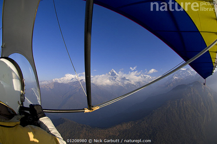Microlight flight around Pokhara and towards the foothills of the Himalayas, Nepal. March 2008.  ,  AIRCRAFT,ASIA,FLYING,MOUNTAINS,NEPAL,PEOPLE  ,  Nick Garbutt