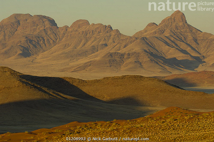 Mountain scenery, Namibrand Nature Reserve, on the edge of the Sossusvlei dunes, Namib Desert, Namibia. July 2008.  ,  DESERTS,LANDSCAPES,MOUNTAINS,RESERVE,SOUTHERN AFRICA  ,  Nick Garbutt