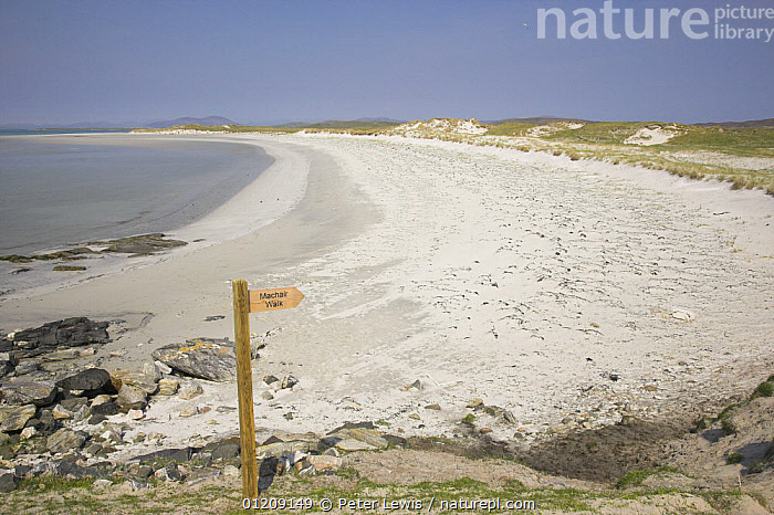 White sand beach with sign indicating walking path through Machair, North Uist, Western Isles, Scotland  ,  BEACHES,COASTS,EUROPE,LANDSCAPES,SIGNS,UK, United Kingdom, United Kingdom, United Kingdom, United Kingdom, United Kingdom, United Kingdom  ,  Peter Lewis
