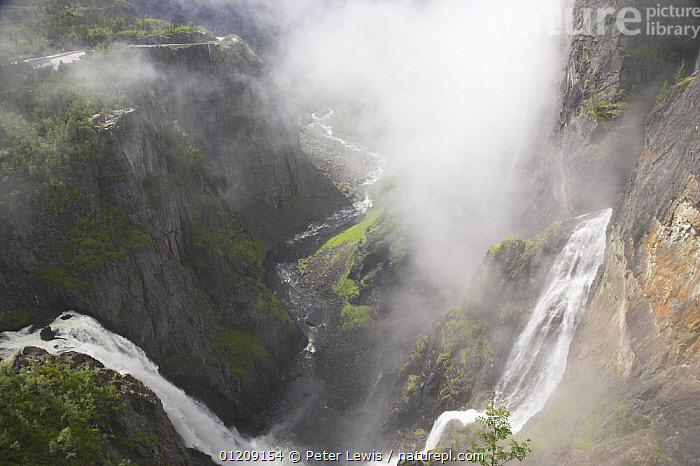 View from the top of 600ft high Voringfossen waterfall, Mabodalen Canyon on the River Bjoreia, Norway  ,  ATMOSPHERIC,EUROPE,GEOLOGY,HIGH ANGLE SHOT,LANDSCAPES,MIST,SCANDINAVIA,WATERFALLS, Scandinavia,WEATHER , Scandinavia, Scandinavia, Scandinavia, Scandinavia, Scandinavia  ,  Peter Lewis
