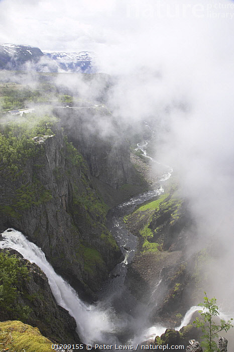 View from the top of 600ft high Voringfossen waterfall, Mabodalen Canyon on the River Bjoreia, Norway  ,  ATMOSPHERIC,EUROPE,GEOLOGY,HIGH ANGLE SHOT,LANDSCAPES,MIST,SCANDINAVIA,VERTICAL,WATERFALLS, Scandinavia,WEATHER , Scandinavia, Scandinavia, Scandinavia, Scandinavia, Scandinavia  ,  Peter Lewis