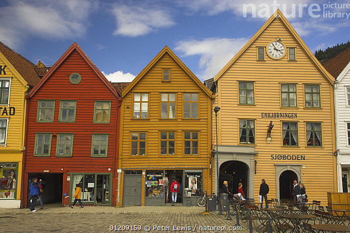 Bryggen in Bergen, with wooden buildings facing the quay. UNESCO World Heritage Site, Norway  ,  BUILDINGS,CITIES,COLOURFUL,EUROPE,LANDSCAPES,NORWAY,SCANDINAVIA,shops,TOWNS,WOODEN, Scandinavia, Scandinavia, Scandinavia, Scandinavia, Scandinavia, Scandinavia  ,  Peter Lewis