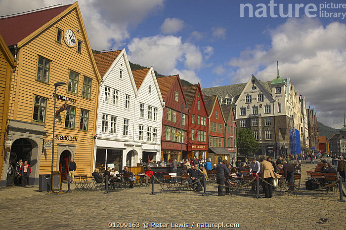 Bryggen in Bergen, with wooden buildings facing the quay. UNESCO World Heritage Site, Norway  ,  BUILDINGS,CITIES,COLOURFUL,EUROPE,SCANDINAVIA,shops,TOWNS,WOODEN, Scandinavia, Scandinavia, Scandinavia, Scandinavia, Scandinavia, Scandinavia  ,  Peter Lewis