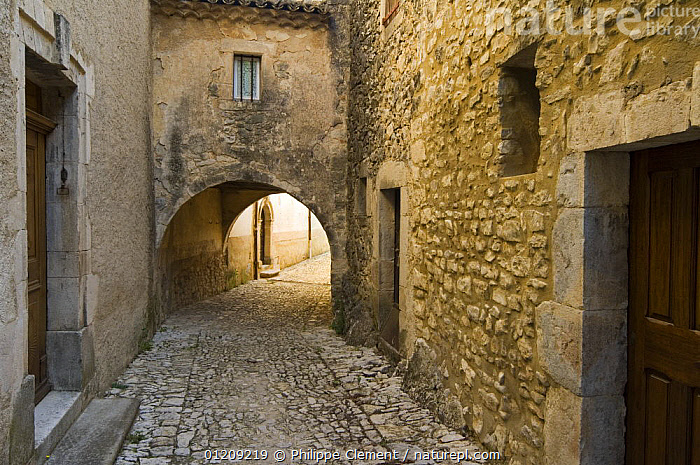 Alley in the mediaeval village of Banon, Provence, France. June 2008.  ,  BUILDINGS,EUROPE,FRANCE,LANDSCAPES,ROADS,STONE,STREETS,TRADITIONAL,VILLAGES  ,  Philippe Clement