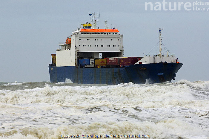 Container ship in a rough sea during storm, North Sea, Belgium. March 2008.  ,  BELGIUM,BOATS,COASTAL WATERS,CONTAINER SHIPS,EUROPE,FREIGHT BOATS ,HEAVY SEAS,ROUGH SEAS,STORMS,TRANSPORT,WAVES,Weather, WORKING-BOATS , WEATHER  , WORKING-BOATS  ,  Philippe Clement