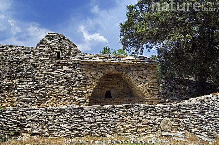 The restored village of Les Bories with its traditional stone Gallic huts, Gordes, Provence, France. June 2008.  ,  ANCIENT,BUILDINGS,EUROPE,FRANCE,LANDSCAPES,VILLAGES,WALLS  ,  Philippe Clement