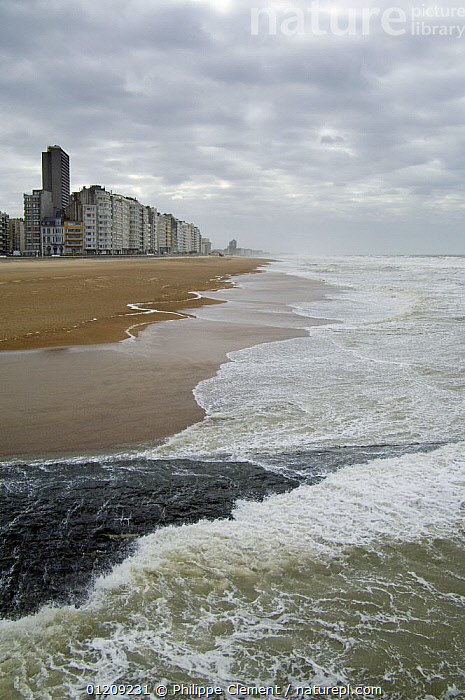 Developed coastline of Ostend with beach, appartment buildings and breakwater along the North Sea coast during winter storm, Belgium, March 2008  ,  BEACHES,BELGIUM,BUILDINGS,COASTS,EUROPE,LANDSCAPES,STORMS,TOWNS,VERTICAL,WAVES,WEATHER  ,  Philippe Clement