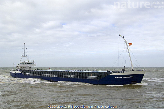 Cargo ship on the North Sea, Belgium. March 2008.  ,  BELGIUM,BOATS,COASTAL WATERS,CONTAINER SHIPS,EUROPE,FREIGHT BOATS ,TRANSPORT, WORKING-BOATS , WORKING-BOATS  ,  Philippe Clement