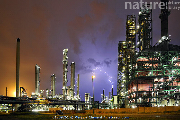 Lightning during thunderstorm above petrochemical industry, Antwerp harbour, Belgium. July 2008.  ,  BELGIUM,BUILDINGS,CHIMNEYS,CITIES,ENERGY,EUROPE,INDUSTRIAL,LIGHT,LIGHTNING,LIGHTS,NIGHT,SKY,STORMS,Weather  ,  Philippe Clement