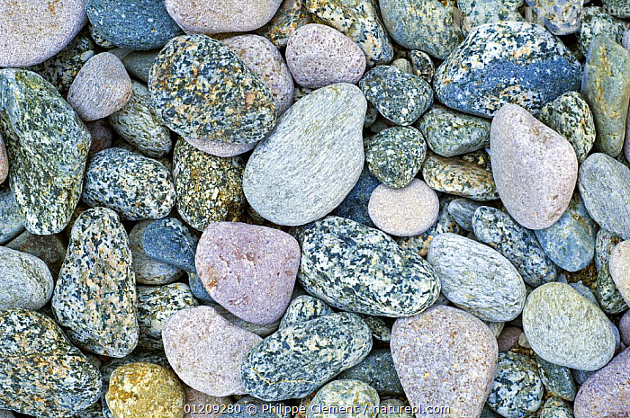 Colourful water smoothed pebbles at shingle beach, Brittany, France  ,  ARTY,EUROPE,FRANCE,PATTERNS,STONES  ,  Philippe Clement