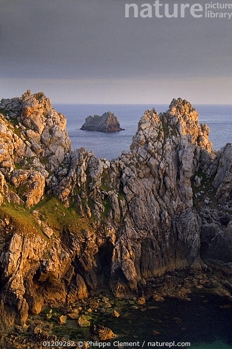 Sea cliffs at Pen Hir at sunset, Brittany, France. May 2008.  ,  ATLANTIC,COASTS,EUROPE,FRANCE,LANDSCAPES,ROCKS,VERTICAL  ,  Philippe Clement