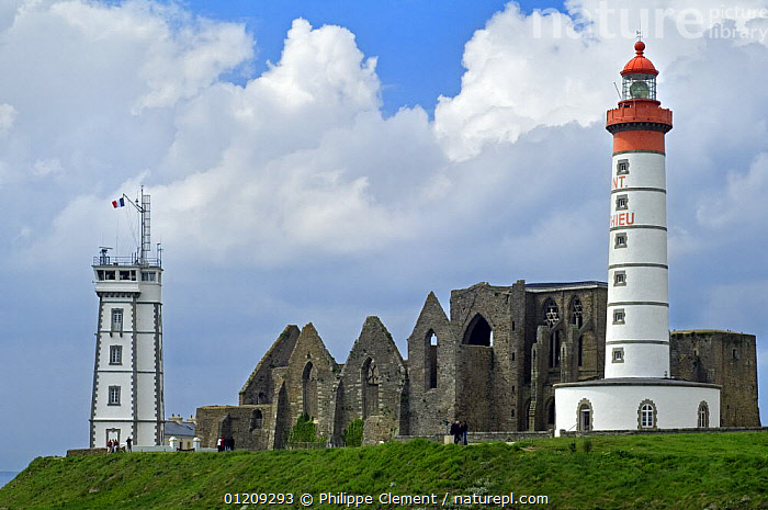 The Pointe Saint-Mathieu with its ruined abbey, semaphore and lighthouse, Brittany, France. May 2008.  ,  BUILDINGS,COASTS,EUROPE,FRANCE,LANDSCAPES,LIGHTHOUSES  ,  Philippe Clement