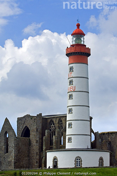 The Pointe Saint-Mathieu with its ruined abbey and lighthouse, Brittany, France. May 2008.  ,  BUILDINGS,COASTS,EUROPE,FRANCE,LANDSCAPES,LIGHTHOUSES,VERTICAL  ,  Philippe Clement