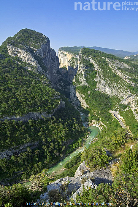 View from the Point Sublime into the Verdon Gorge / Gorges du Verdon, Provence, France. June 2008.  ,  AERIALS,EUROPE,FRANCE,HIGH ANGLE SHOT,LANDSCAPES,RIVERS,VALLEY,VALLEYS  ,  Philippe Clement