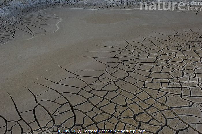 Cracked earth during a drought, Rajasthan, India  ,  ASIA,BROWN,DRY SEASON,EARTH,INDIA,MUD,PATTERNS  ,  Bernard Castelein
