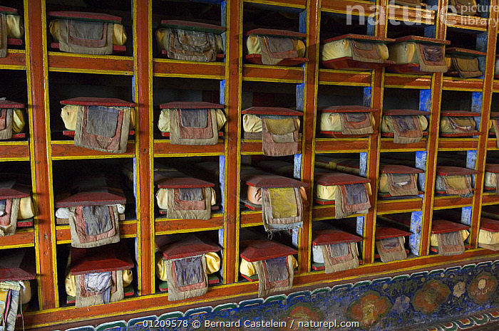 Sacred scriptures inside Anden Gumpa monastery, between Sombare and Hilley, Sikkim, India October 2007  ,  ASIA,BUDDHISM,BUDDHIST,INDIA,TRADITIONAL  ,  Bernard Castelein