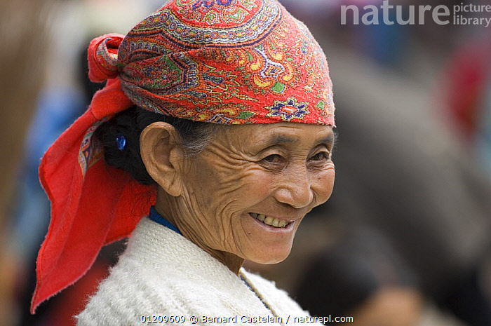 Smiling woman (of Nepali origin) at the market of Sombare, West Sikkim, India October 2007  ,  ASIA,FACES,INDIA,PEOPLE,PORTRAITS,TRADITIONAL,WOMEN  ,  Bernard Castelein
