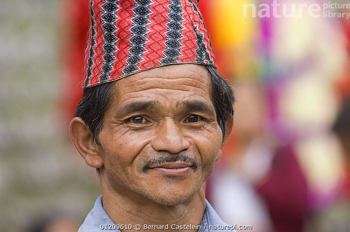 Man (of Nepali origin) at the market of Sombare, West Sikkim, India October 2007  ,  ASIA,FACES,HATS,INDIA,MEN,PEOPLE,PORTRAITS,TRADITIONAL  ,  Bernard Castelein