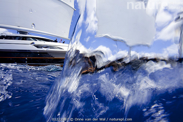 Saint Barths Bucket Super Yacht Regatta, Caribbean, March 2009. Property released.  ,  ABSTRACT,ARTY SHOTS,CARIBBEAN,LESSER ANTILLES,OBSCURED,RACES,SAILING BOATS,Saint Barthelemy,SPLASHES,SPLIT LEVEL,St Barts,SUPERYACHTS,SURFACE,UNDERWATER,WEST INDIES,YACHTS,BOATS  ,  Onne van der Wal