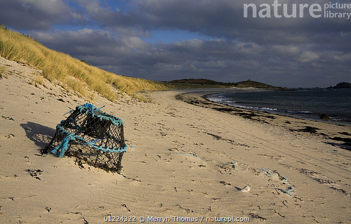 Lobster pot on Par Beach, St. Martin's, Isles of Scilly. December 2008.  ,  BEACHES,COASTS,CORNWALL,EMPTY,ENGLAND,EUROPE,LANDSCAPES,POTS,SAINT MARTINS,UK,WINTER, United Kingdom, United Kingdom, United Kingdom  ,  Merryn Thomas