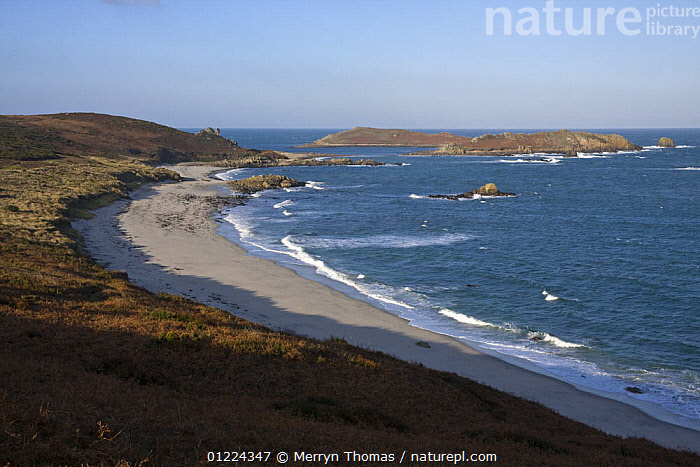 Great Bay with Top Rock and White Island in the distance. St. Martin's, Isles of Scilly. December 2008.  ,  BEACHES,COASTS,CORNWALL,EMPTY,ENGLAND,EUROPE,LANDSCAPES,SAINT MARTINS,UK,WINTER, United Kingdom, United Kingdom, United Kingdom  ,  Merryn Thomas