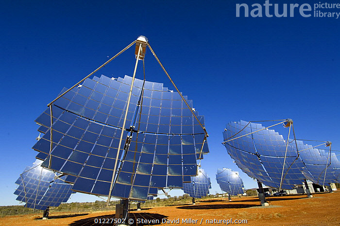 Large solar panels for generating electricity by solar power, Hermannsburg, west of Alice Springs, Northern Territory, Australia, August 2007  ,  AUSTRALIA,BLUE,DESERTS,ENERGY,EQUIPMENT,RENEWABLE,SUSTAINABLE,Catalogue1  ,  Steven David Miller