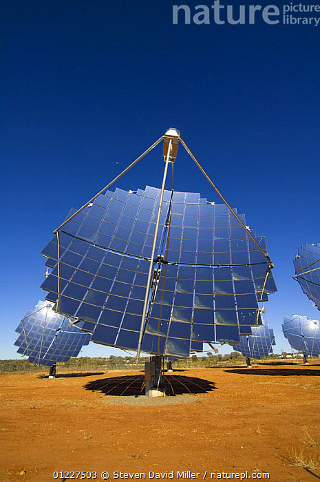 Large solar panels for generating electricity by solar power, Hermannsburg, west of Alice Springs, Northern Territory, Australia, August 2007  ,  AUSTRALIA,BLUE,DESERTS,ENERGY,EQUIPMENT,RENEWABLE,SUSTAINABLE,VERTICAL,Catalogue1  ,  Steven David Miller
