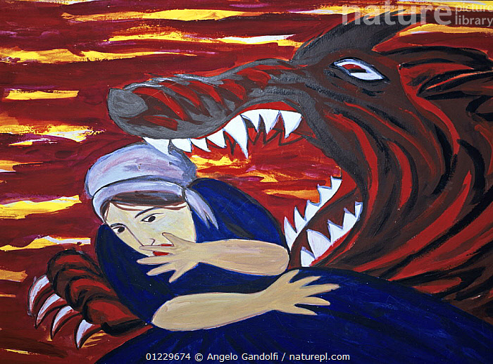 Image of 'The big bad wolf' in a child fantasy, ANIMALS IN ART,CLAWS,DANGER,EUROPE,PAINTINGS,PEOPLE,TEETH,WOLF,WOLVES, Angelo Gandolfi