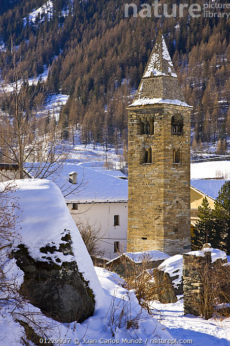 Degioz village with bell tower, Gran Paradiso NP, Valsavarenche, Aosta valley, Italian alps, ALPS,BUILDINGS,EUROPE,ITALY,LANDSCAPES,MOUNTAINS,NP,RESERVE,SNOW,TOWERS,VERTICAL,VILLAGES,WINTER,National Park, Juan Carlos Munoz
