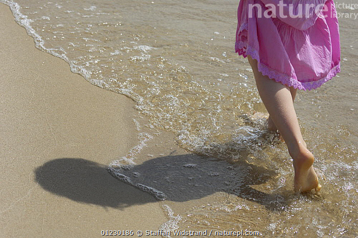 Mimmi Widstrand walking in sea along beach, Gotska Sand�n National Park, Sweden, July 2007. Model released, ARTY,BALTIC SEA,BEACHES,CHILDREN,CONCEPTS,EUROPE,FEET,GIRL,LEGS,LIFESTYLE,NP,PEOPLE,RESERVE,SCANDINAVIA,SEA,SHADOWS,WATER,National Park, Scandinavia, Scandinavia, Scandinavia, Staffan Widstrand