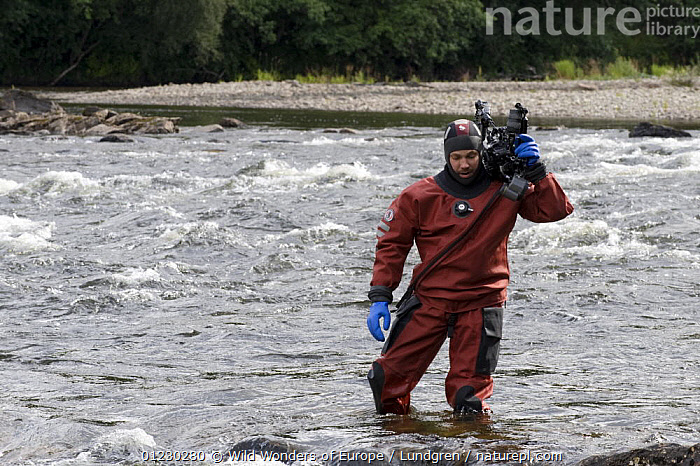 Photographer Magnus Lundgren photographing Atlantic salmon on location for Wild Wonders of Europe, River Orkla, Norway, September 2008, image shot by Patrik Karlsson. Model released, CAMERAS,EUROPE,MAGNUS LUNDGREN,NORWAY,PEOPLE,PHOTOGRAPHY,PORTRAITS,RIVERS,SCANDINAVIA,WATER,WWE, Scandinavia, Scandinavia, Wild Wonders of Europe / Lundgren