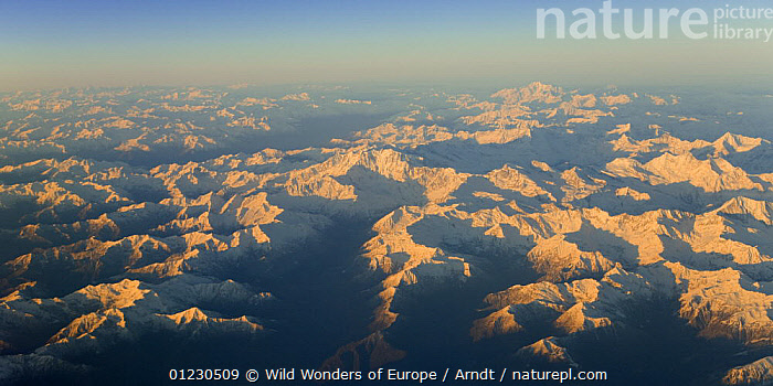 Aerial view of the Alps at sunrise, Italy, November 2008, AERIALS,EUROPE,INGO ARNDT,LANDSCAPES,MOUNTAINS,NP,SNOW,SUNRISE,WWE,National Park, Wild Wonders of Europe / Arndt