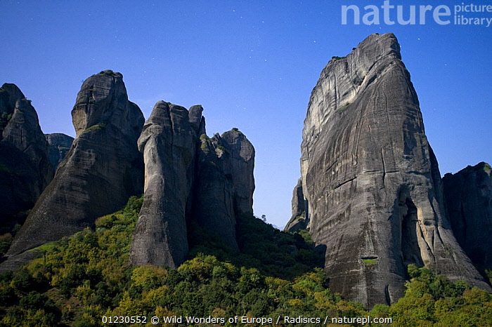 Cliffs in moonlight, Meteora,  Greece, October 2008, CLIFFS,EUROPE,GEOLOGY,GREECE,LANDSCAPES,MILAN RADISICS,NIGHT,ROCK FORMATIONS,ROCKS,TREES,WWE,PLANTS, Wild Wonders of Europe / Radisics