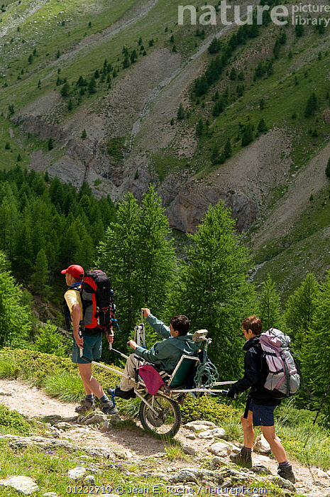 Hiking with handicapped person in the Alps, France, July 2008  ,  ADVENTURE,ALPINE,DISABILITY,DISABLED,EUROPE,FRANCE,HIKING,PEOPLE,RECREATION,VERTICAL,WHEELCHAIR,WHEELCHAIRS,WOODLANDS  ,  Jean E. Roche