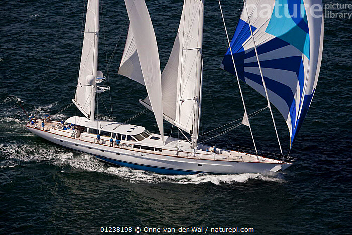 "147' Vitter's yacht ""Timoneer"" sailing downwind under spinnaker during the Newport Bucket Regatta, July 2009, Rhode Island, USA.  ,  AERIALS,LARGE,MEGA YACHTS,NORTH AMERICA,RACES,SAILING BOATS,SPINNAKERS,USA,YACHTS,BOATS ,SAILS ,SIZE  ,  Onne van der Wal"