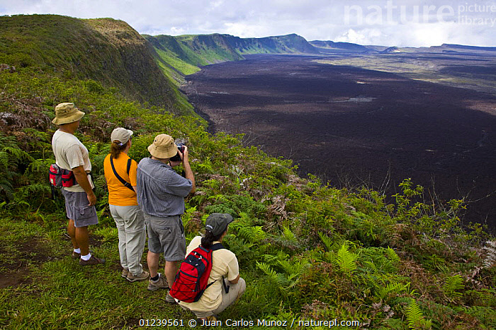 Hikers admire the view from the caldera rim of the Chico Volcano, Sierra Negra, Isabela Island, Galapagos, January 2009  ,  GALAPAGOS,HIKING,LANDSCAPES,PEOPLE,TOURISM,TOURISTS,VOLCANOES,SOUTH-AMERICA,Geology  ,  Juan Carlos Munoz