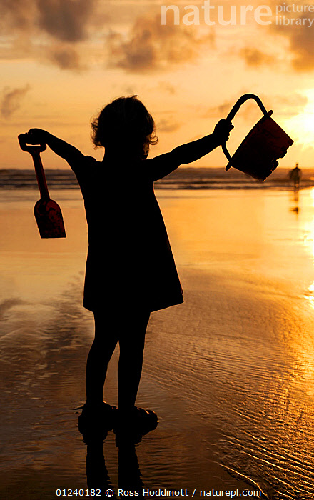 Little girl with bucket and spade silhouetted against setting sun on Summerleaze beach, Bude, North Cornwall, UK. July 2009, Model released.  ,  BEACHES,carefree,CHILDREN,COASTS,EUROPE,LIFESTYLE,PEOPLE,playing,SILHOUETTES,SUNSET,UK,VERTICAL,youth,United Kingdom  ,  Ross Hoddinott