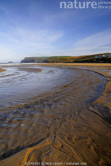Freshwater stream flowing over beach at low tide. Polzeath, Cornwall, UK. Blue Flag Beach.  ,  BEACHES,COASTS,ENGLAND,EUROPE,LANDSCAPES,LOW TIDE,STREAMS,UK,VERTICAL, United Kingdom, United Kingdom  ,  Nick Upton