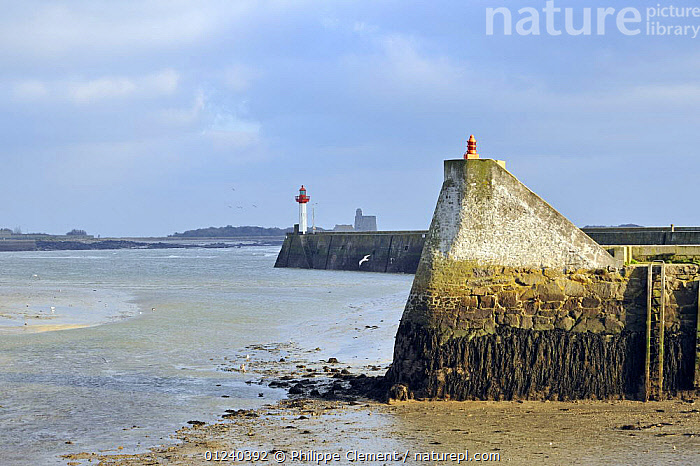 Harbour wall and lighthouse at Saint-Vaast-la-Hogue, Normandy, France, December 2008  ,  COASTS,ENGLISH CHANNEL,EUROPE,HARBOURS,LANDSCAPES,LIGHTHOUSES,NORTH SEA,QUAYS,BUILDINGS  ,  Philippe Clement